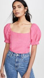 alice   olivia Joslyn Puff Sleeve Cropped Top at Shopbop