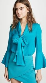 alice   olivia Meredith Tie Neck Button Down at Shopbop
