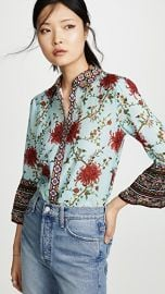 alice   olivia Rana Ruffle Sleeve Button Down Blouse at Shopbop