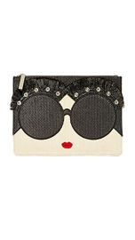 alice   olivia Stace Face Embellished Large Zip Pouch at Shopbop