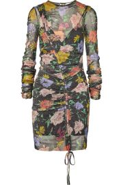 alice McCALL - Cosmic ruched metallic floral-print mesh dress at Net A Porter