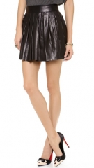 alice and olivia Box Pleat Leather Skirt at Shopbop