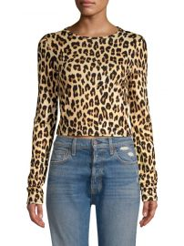 alice and olivia Delaina Leopard Print Crop Top at Saks Fifth Avenue
