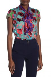 alice and olivia Jeannie Bow Neck Floral Burnout Top at Nordstrom Rack