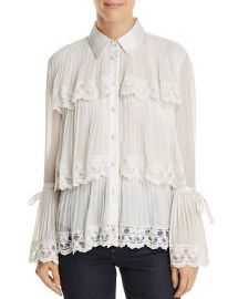 alice and olivia Kartwright Pleated Tiered Blouse at Bloomingdales