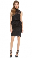 alice and olivia Patricia Short Feather Peplum Dress at Shopbop
