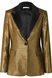 alice and olivia ROBERT SATIN-TRIMMED LUREX BLAZER at Net A Porter