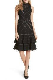 alice olivia Azita Mesh Tiered Fit  Flare Dress at Nordstrom Rack