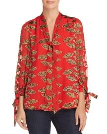 alice olivia Sheila Lips Burnout Tie-Neck Top at Bloomingdales
