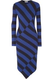 altuzarra Whistler asymmetric striped ribbed-knit dress at Net A Porter