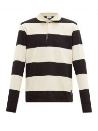 ami Striped long sleeve cotton polo shirt at Matches
