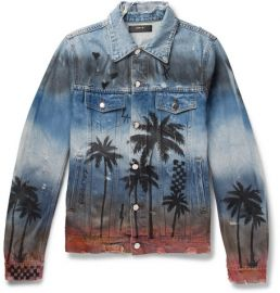 amiri Slim-Fit Distressed Printed Denim Jacket at Mr Porter