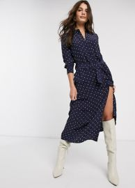 amp  Other Stories polka dot button-through belted shirt dress in dark blue   ASOS at Asos