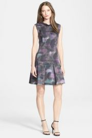 and039Hazeand039 Print Mock Neck Pleated Sheath Dress at Nordstrom Rack