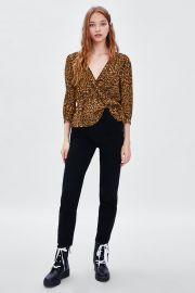 animal print wrap top at Zara