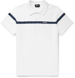 apc Henri Embroidered Terry-Trimmed Slub Cotton-Jersey Polo Shirt at Mr Porter