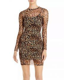 aqua Ruched Leopard Print Dress at Bloomingdales