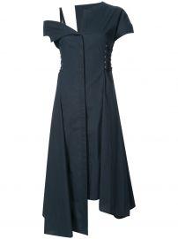 asymmetric lace-up midi dress Jason Wu at Farfetch