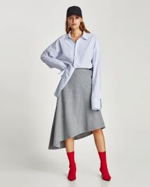 asymmetric skirt with side buttons at Zara