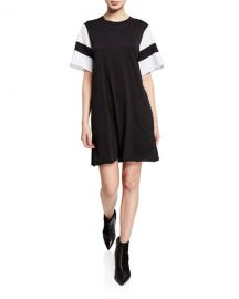 atm Crewneck Short-Sleeve Jersey Cotton Dress at Bergdorf Goodman