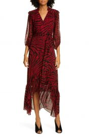 ba amp sh Selena Animal Print Ruffle Detail Midi Wrap Dress   Nordstrom at Nordstrom