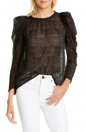 ba amp sh Cadia Flocked Dot Silk Blend Blouse   Nordstrom at Nordstrom