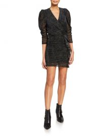 ba amp sh Celia Velvet Dot 3 4-Sleeve Ruffle Cocktail Dress at Neiman Marcus