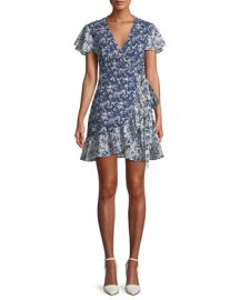 ba amp sh Floral-Print Ruffle Wrap Dress at Neiman Marcus