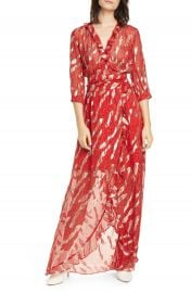 ba amp sh Hali Metallic Print Silk Blend Maxi Dress   Nordstrom at Nordstrom