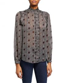 ba amp sh Precious Printed Ruffle Button-Down Top at Neiman Marcus