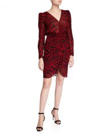 ba amp sh Saphir Zebra-Print Long-Sleeve Short Dress at Neiman Marcus