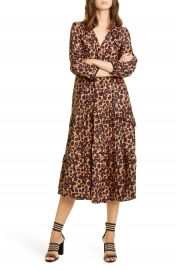 ba amp sh Tracy Leopard Print Midi Dress   Nordstrom at Nordstrom