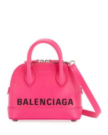 balenciaga Ville XS Leather Top Handle Logo Satchel Bag at Bergdorf Goodman