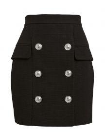 balmain Button-Embellished Mini Skirt at Intermix