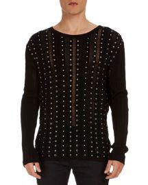 balmain studded sweater at Bergdorf Goodman