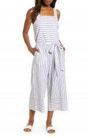 beachlunchlounge Talia Stripe Cotton  amp  Linen Jumpsuit   Nordstrom at Nordstrom