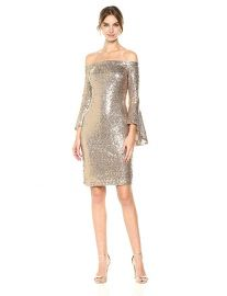 bebe Women s All Over Sequin Off The Shoulder Dress with Bell Sleeves at Amazon