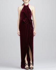 black halo Admire Draped Velvet Gown at Neiman Marcus