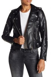 blanknyc Dragonfly Stud Moto Faux Leather Jacket at Nordstrom Rack
