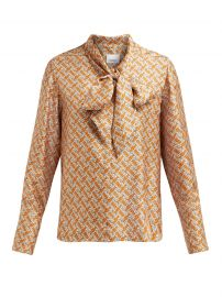 burberry Monogram-print pussy-bow silk blouse at Matches