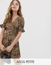 button through rib tea dress with puff sleeve in animal print at ASOS