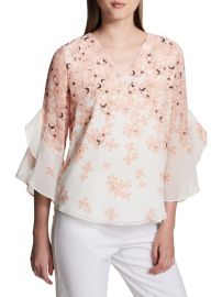 calvin klein Floral Ruffle-Sleeve Blouse at Saks Off 5th