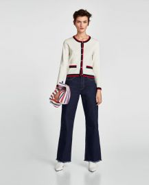 cardigan with contrasting pearl beads at Zara
