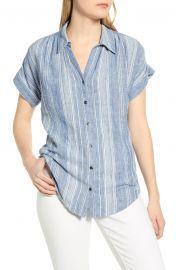 caslon Stripe Woven Shirt at Nordstrom