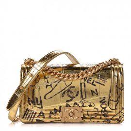 chanel Metallic Crocodile Embossed Calfskin Graffiti Medium Cocodile Boy Flap Gold at Fashionphile
