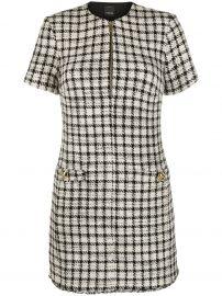 check print tweed mini dress at Farfetch