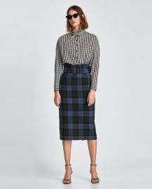 checked skirt at Zara