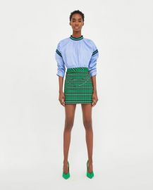 checked skirt with chain at Zara