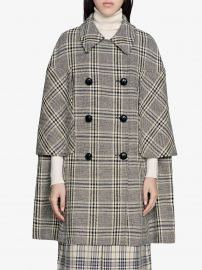 checkered double-breasted cape coat at Farfetch
