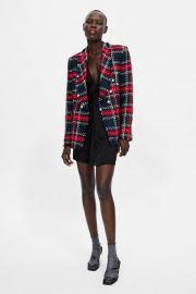 checkered tweed blazer at Zara